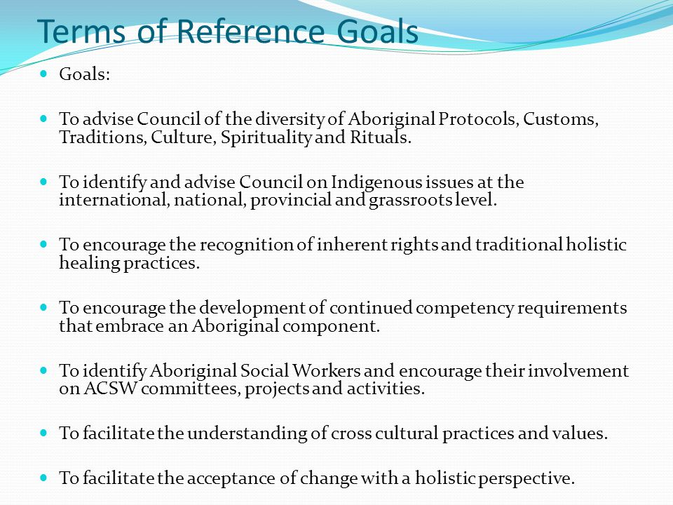 Terms of Reference Goals