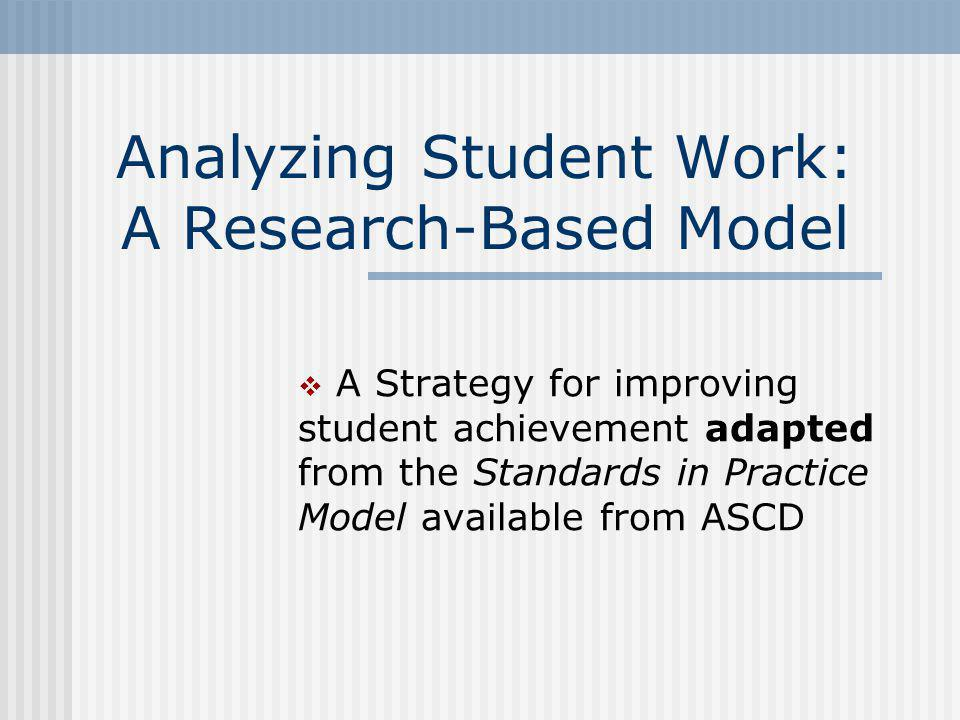 Analyzing Student Work: A Research-Based Model