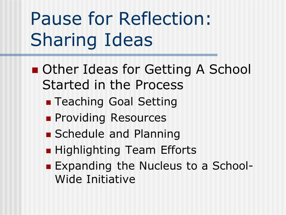 Pause for Reflection: Sharing Ideas