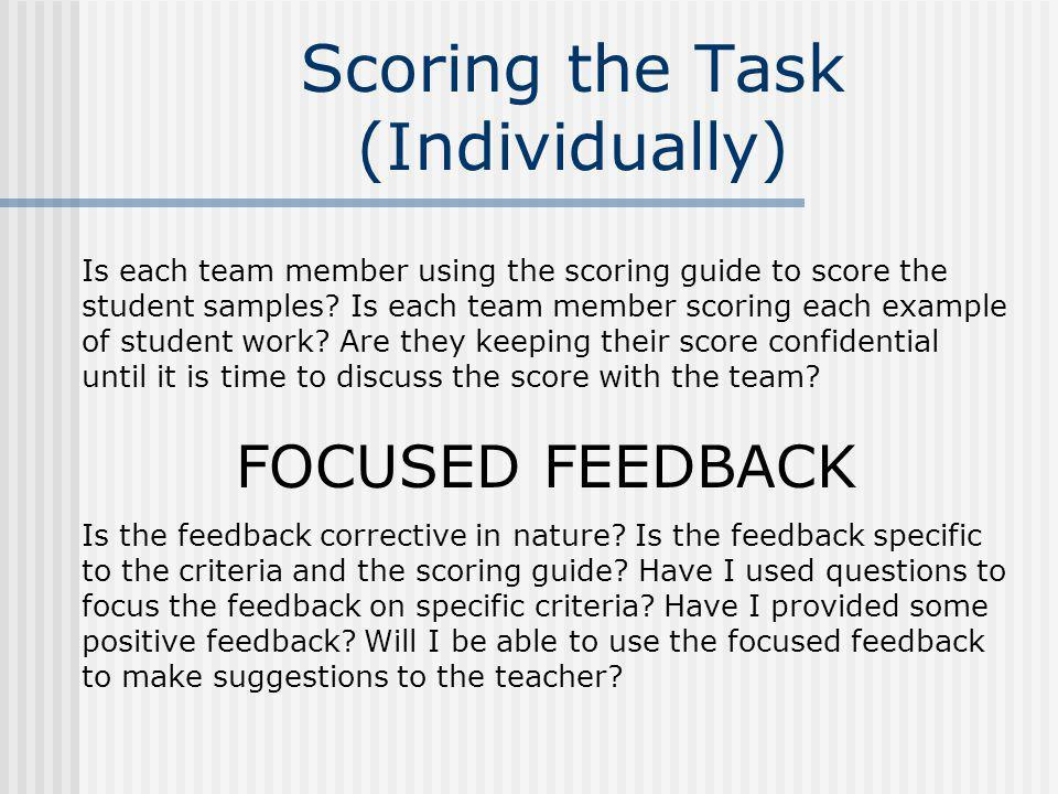 Scoring the Task (Individually)