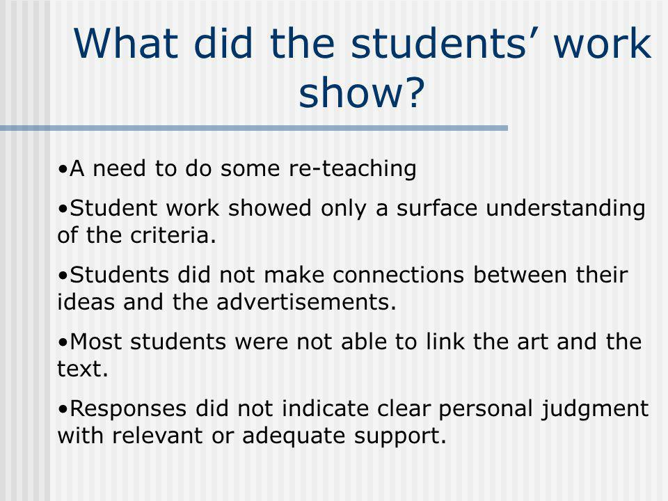 What did the students' work show
