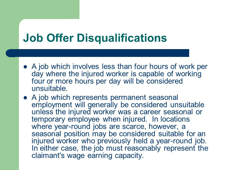 Job Offer Disqualifications