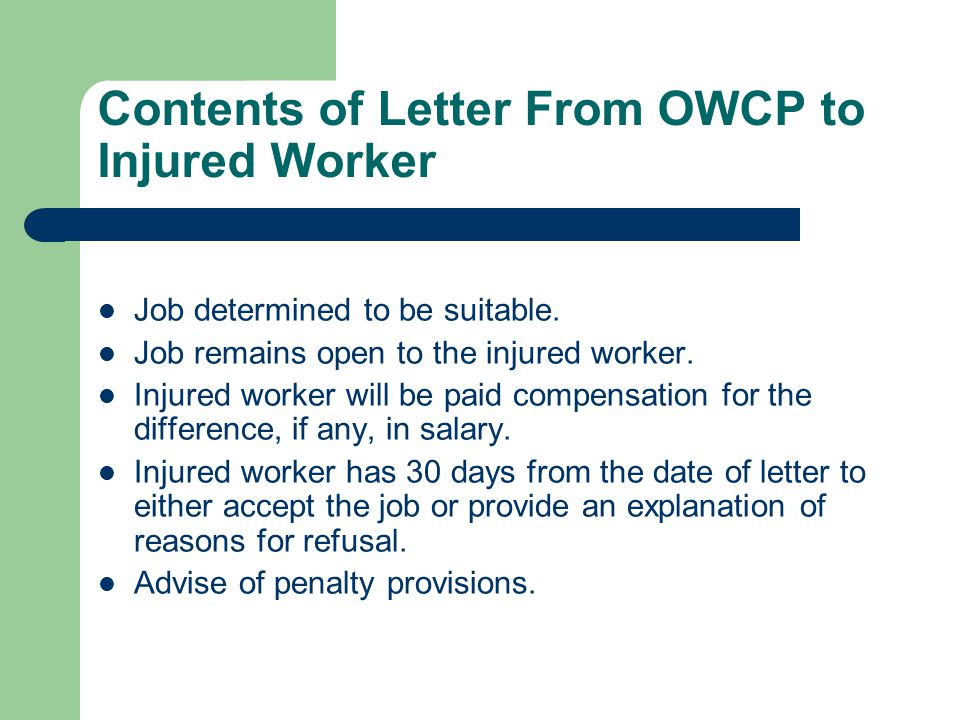 Contents of Letter From OWCP to Injured Worker