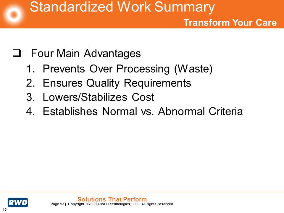 Standardized Work Summary