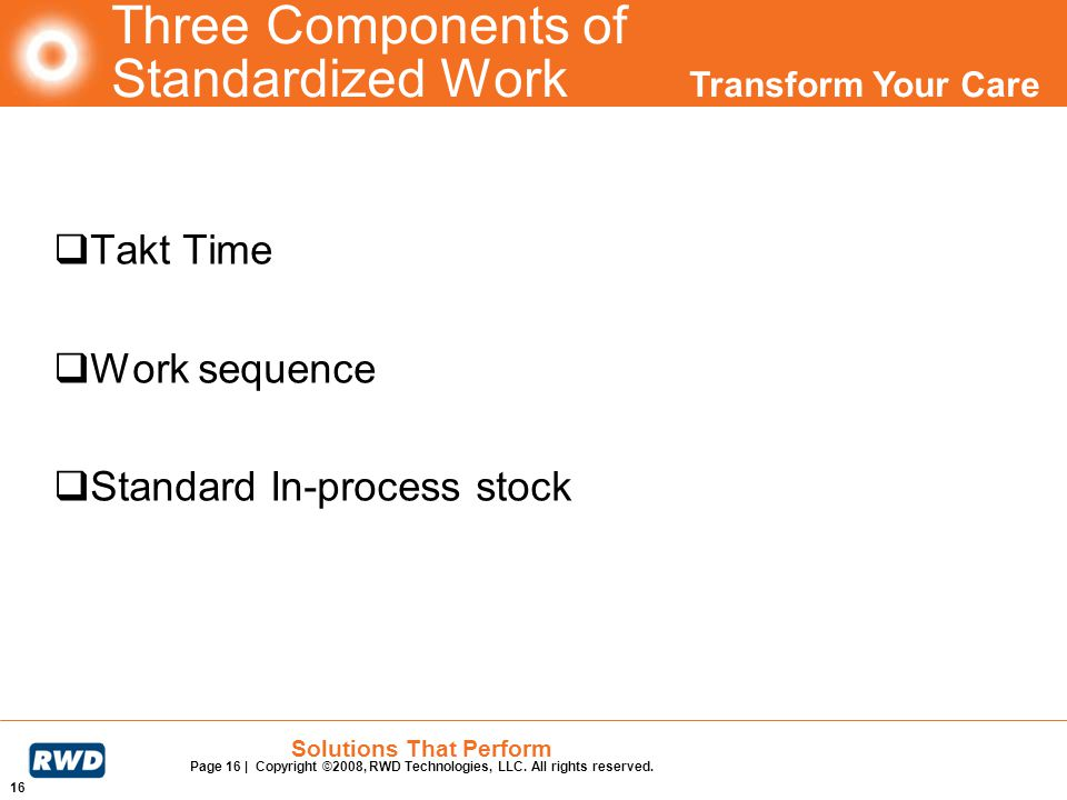 Three Components of Standardized Work