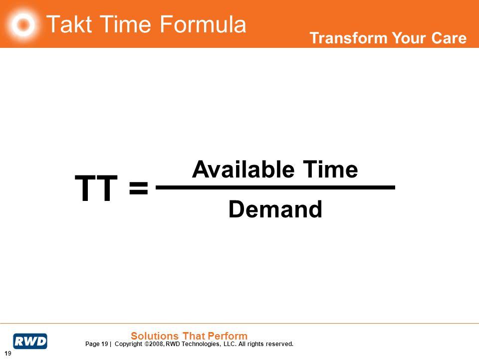 Takt Time Formula TT = Available Time Demand