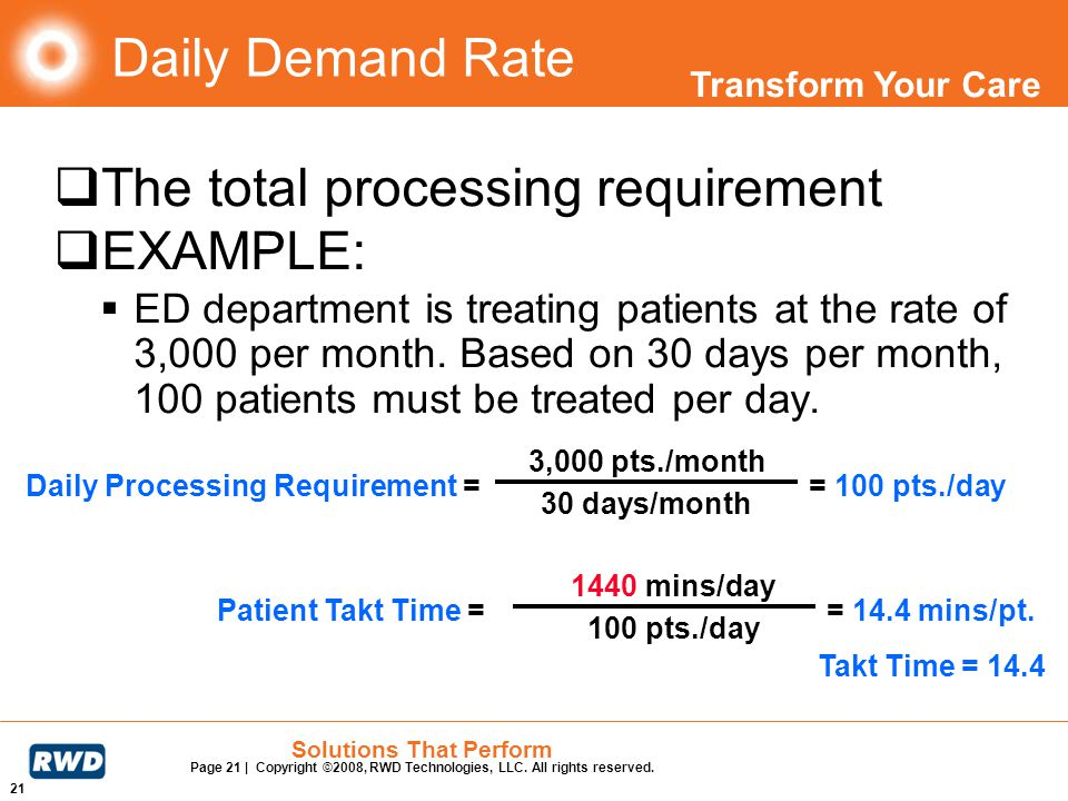 The total processing requirement EXAMPLE: