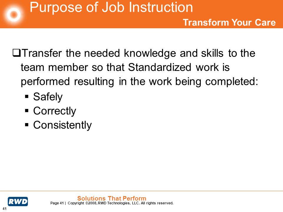 Purpose of Job Instruction