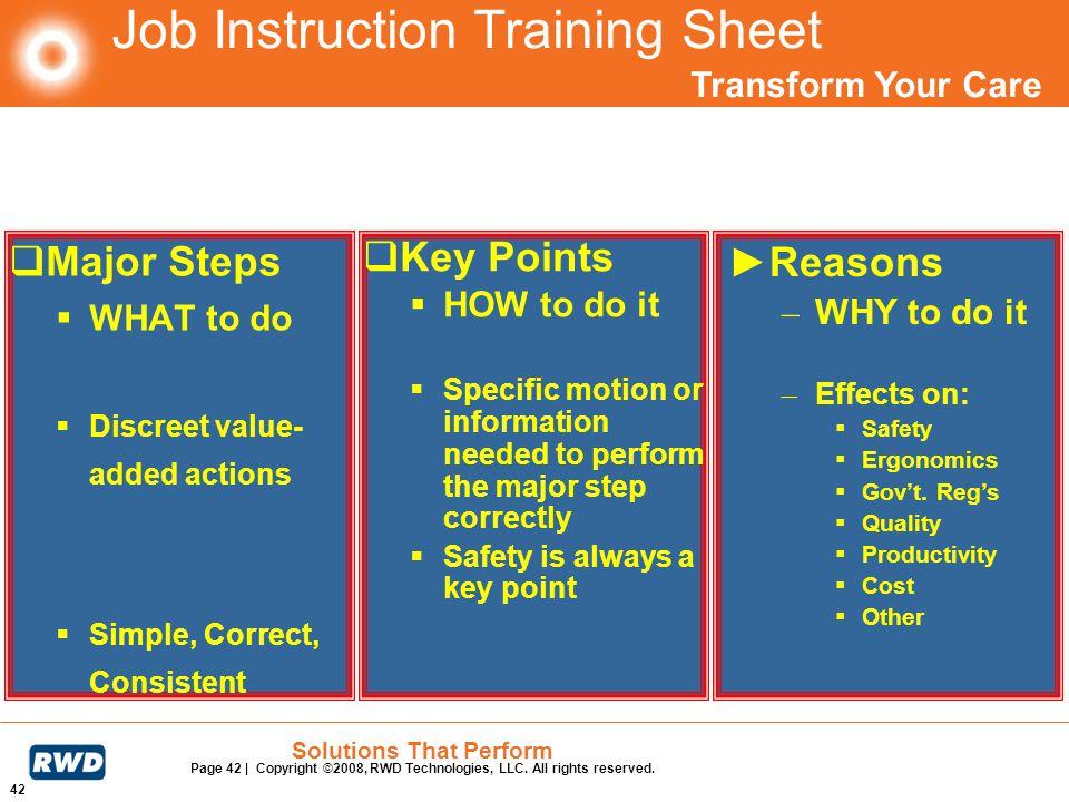 Job Instruction Training Sheet
