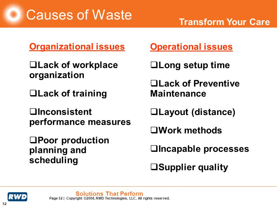 Causes of Waste Organizational issues Operational issues