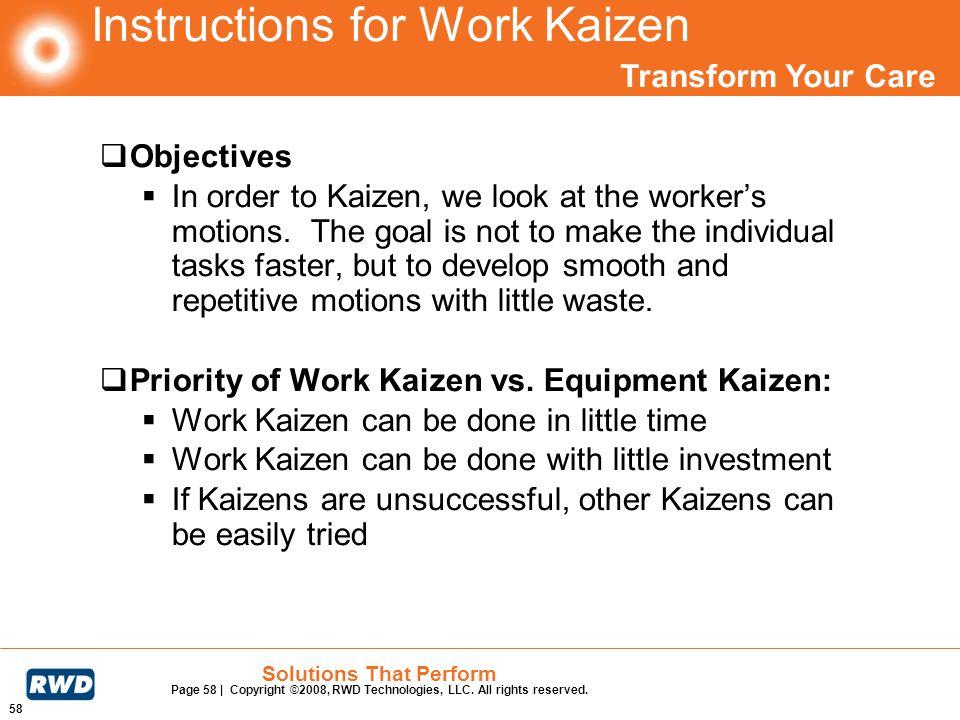 Instructions for Work Kaizen