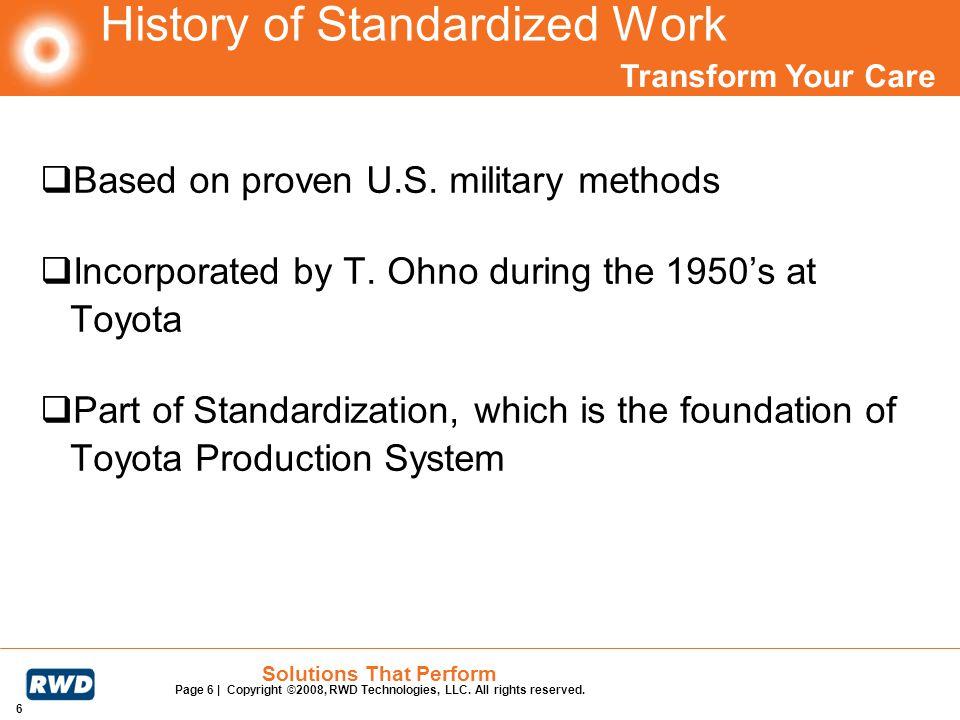 History of Standardized Work