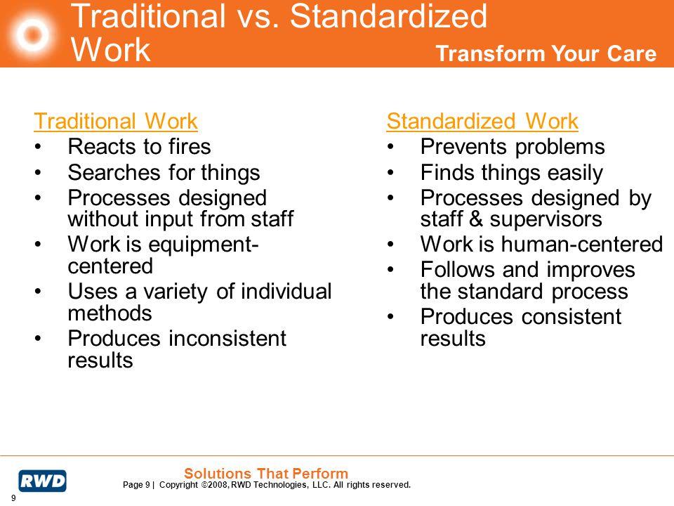 Traditional vs. Standardized Work