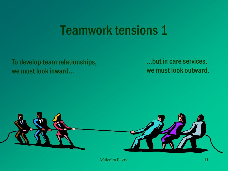 Teamwork tensions 1 To develop team relationships,