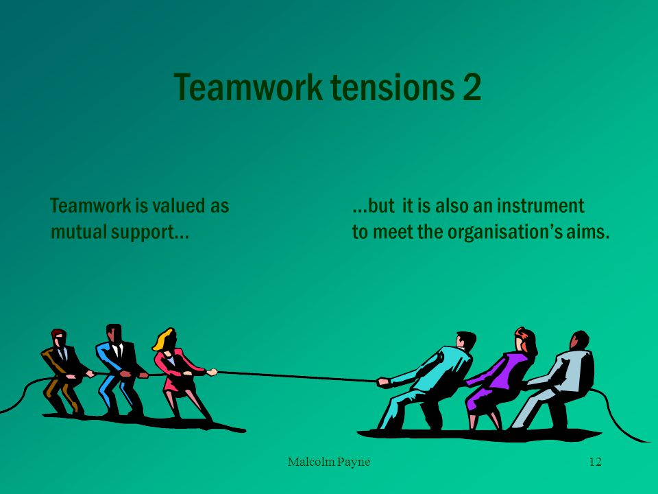 Teamwork tensions 2 Teamwork is valued as mutual support…