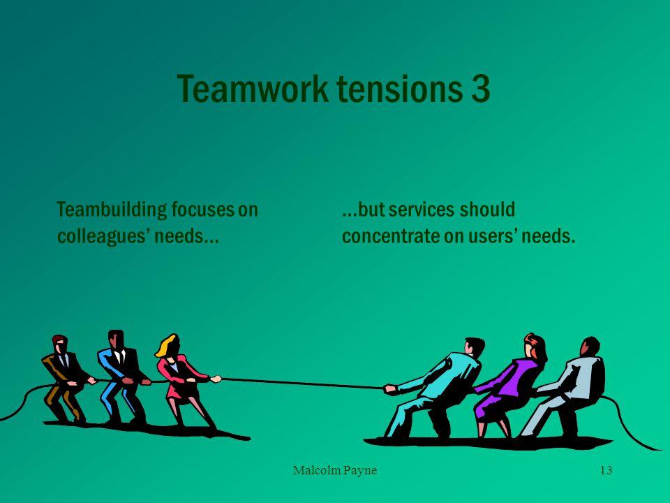 Teamwork tensions 3 Teambuilding focuses on colleagues' needs…