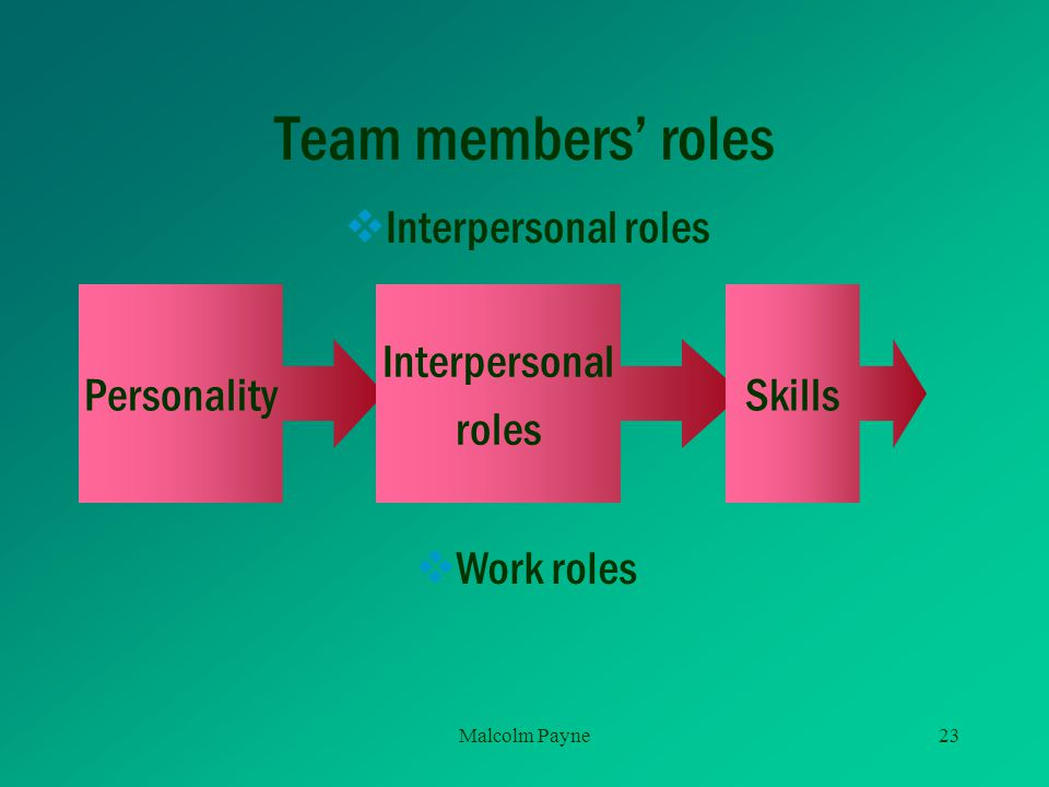 Team members' roles Interpersonal roles Personality Interpersonal