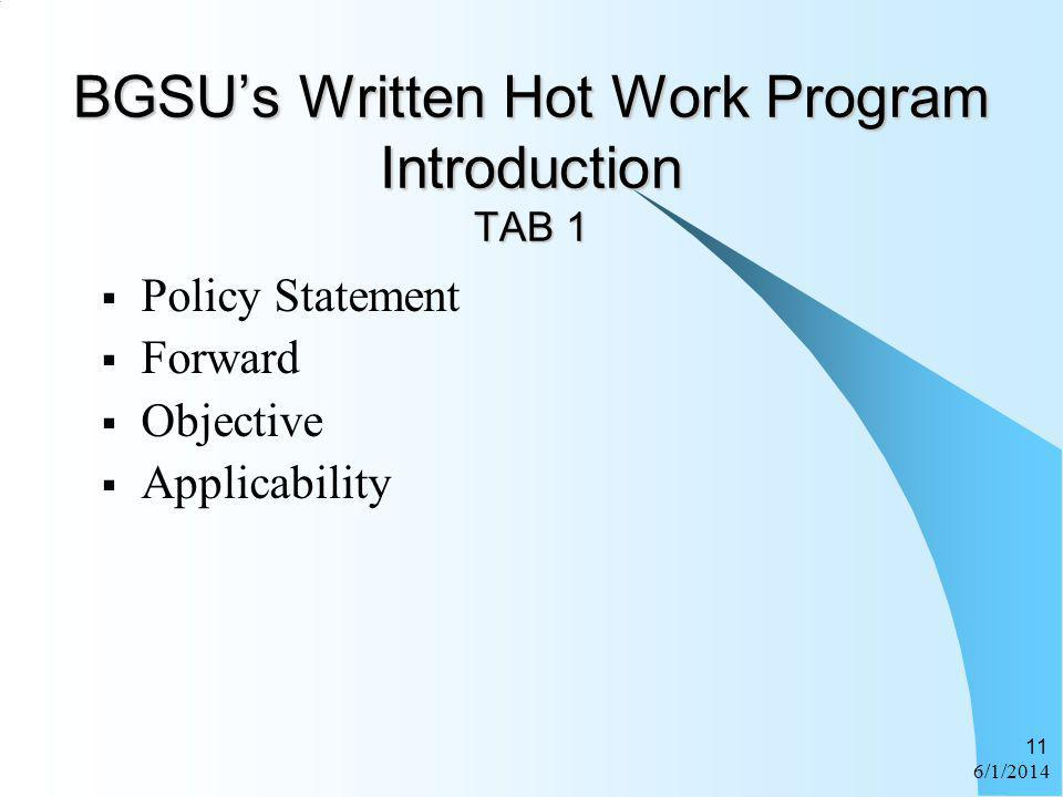 BGSU's Written Hot Work Program Introduction TAB 1