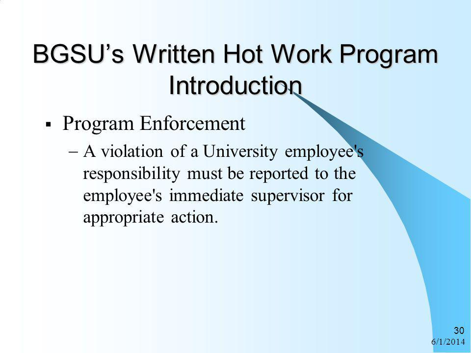 BGSU's Written Hot Work Program Introduction