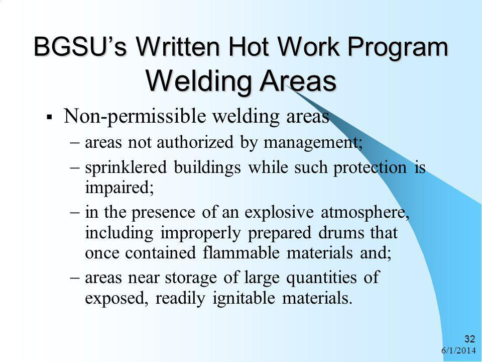 BGSU's Written Hot Work Program Welding Areas