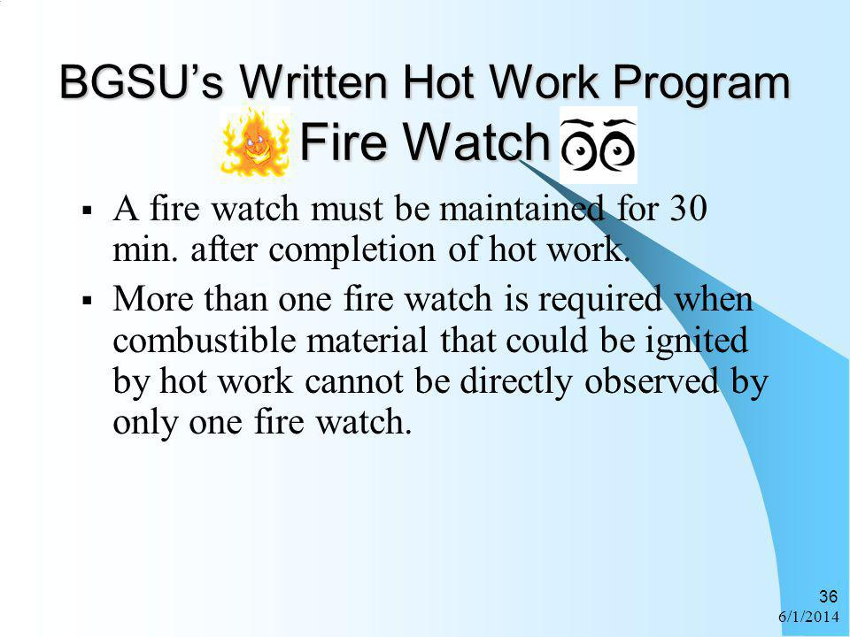 BGSU's Written Hot Work Program Fire Watch