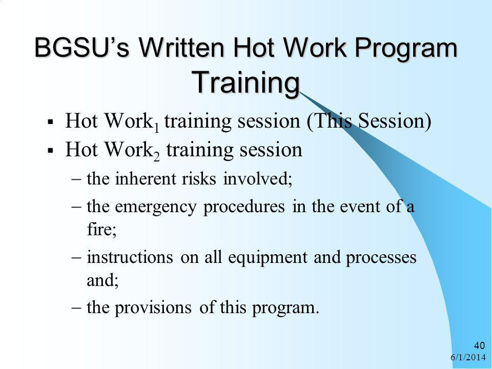 BGSU's Written Hot Work Program Training