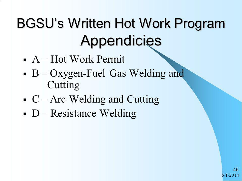 BGSU's Written Hot Work Program Appendicies