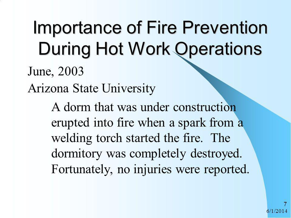 Importance of Fire Prevention During Hot Work Operations