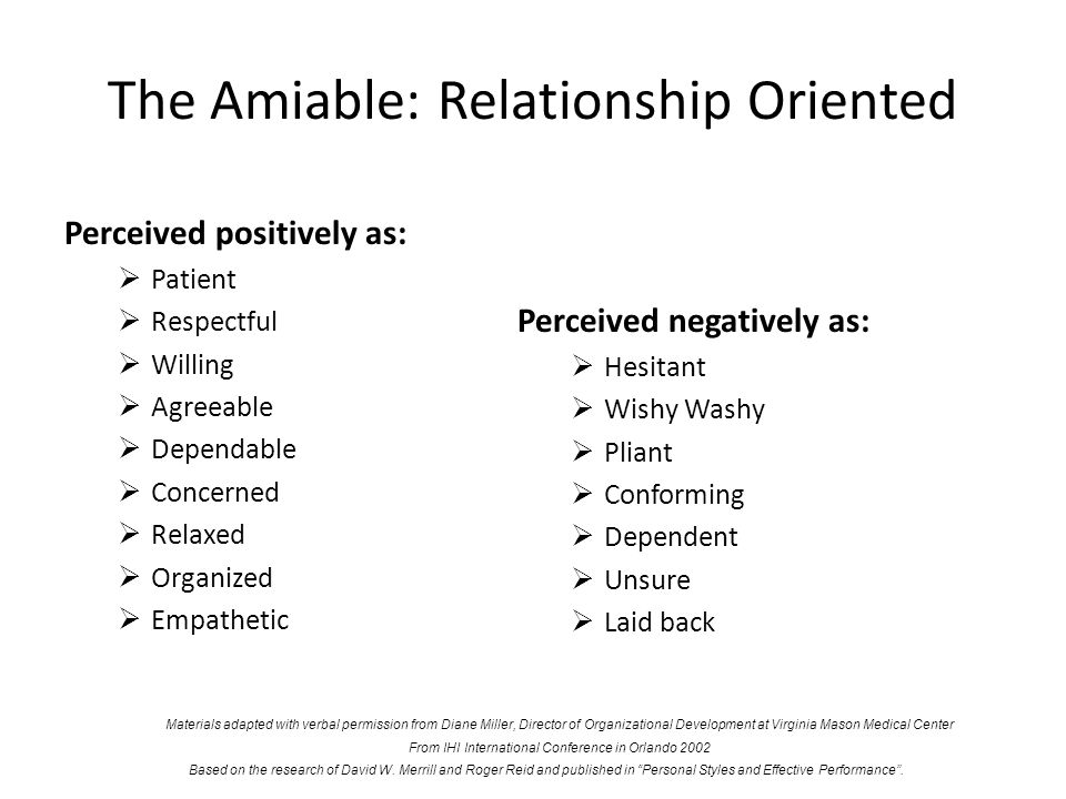 The Amiable: Relationship Oriented