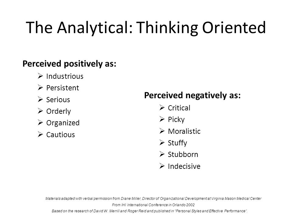 The Analytical: Thinking Oriented