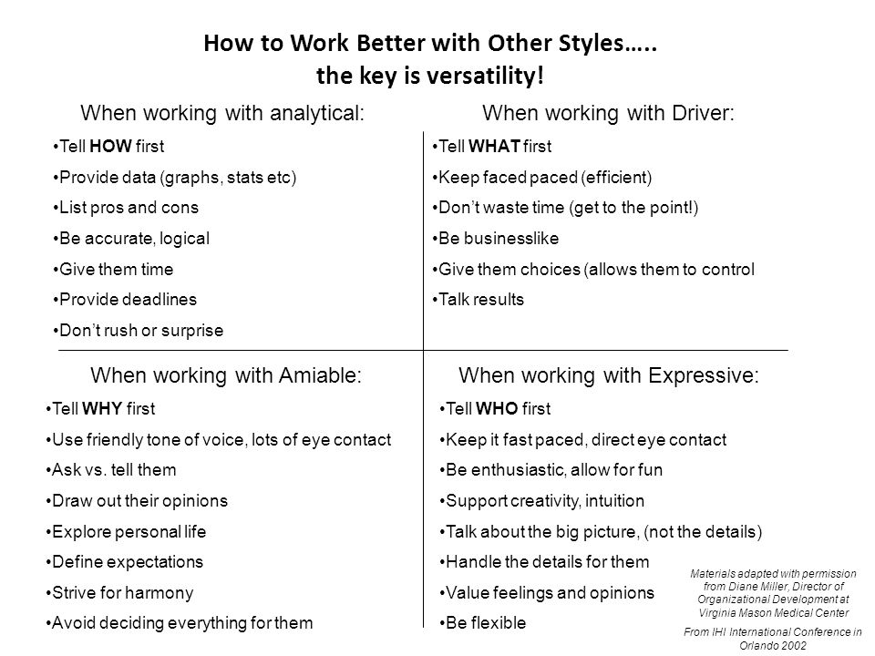 How to Work Better with Other Styles….. the key is versatility!