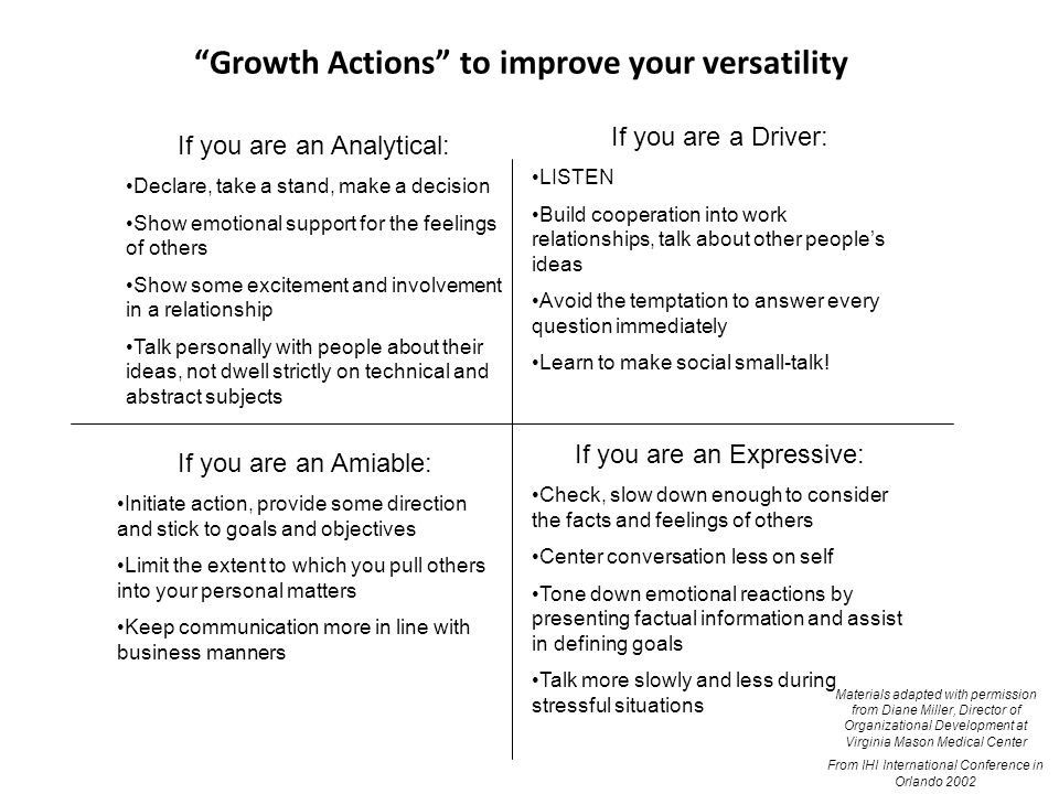 Growth Actions to improve your versatility