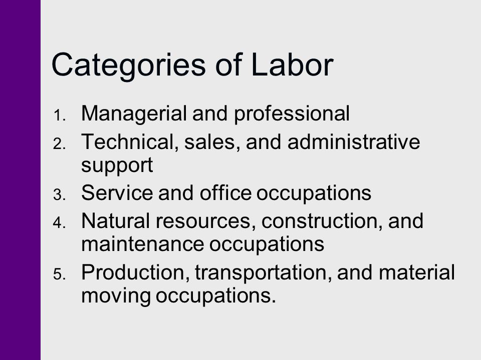 Categories of Labor Managerial and professional