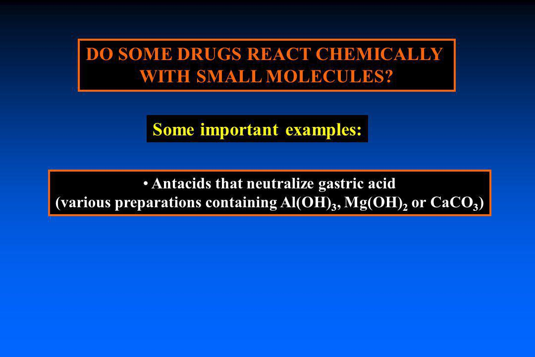 DO SOME DRUGS REACT CHEMICALLY WITH SMALL MOLECULES