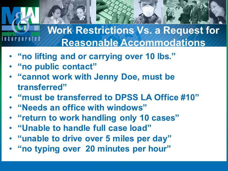 Work Restrictions Vs. a Request for Reasonable Accommodations