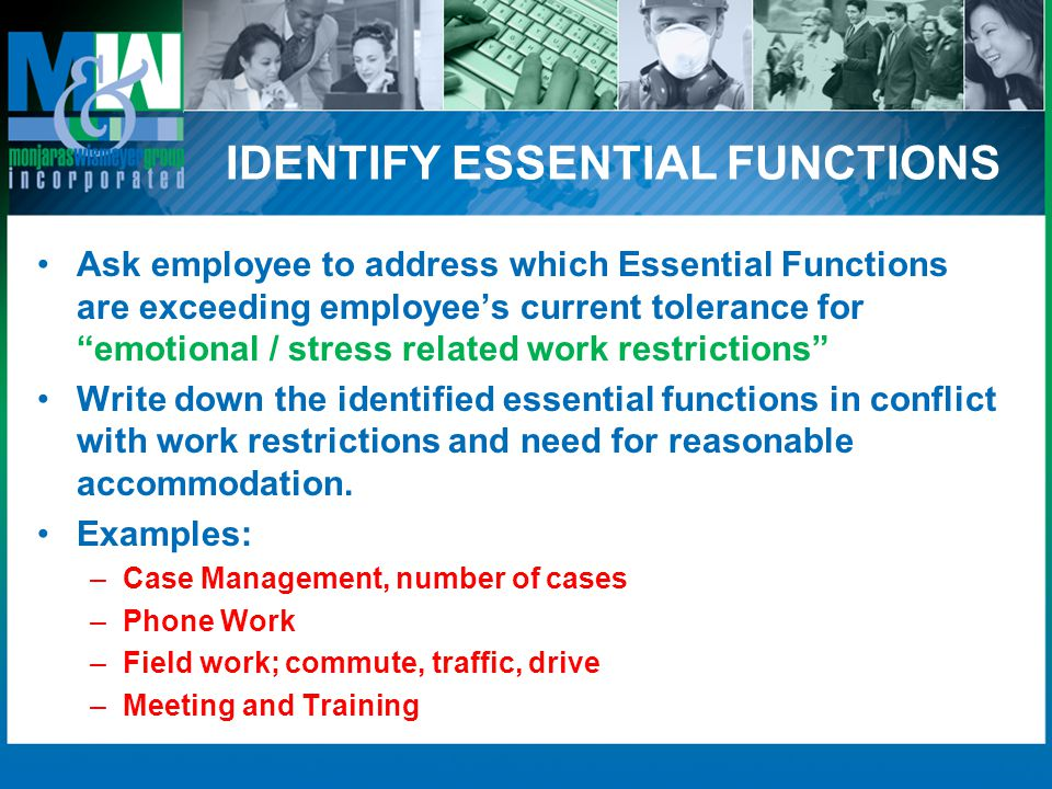 IDENTIFY ESSENTIAL FUNCTIONS