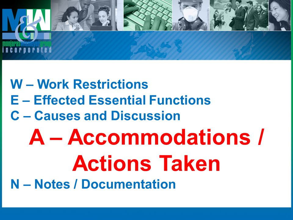 A – Accommodations / Actions Taken