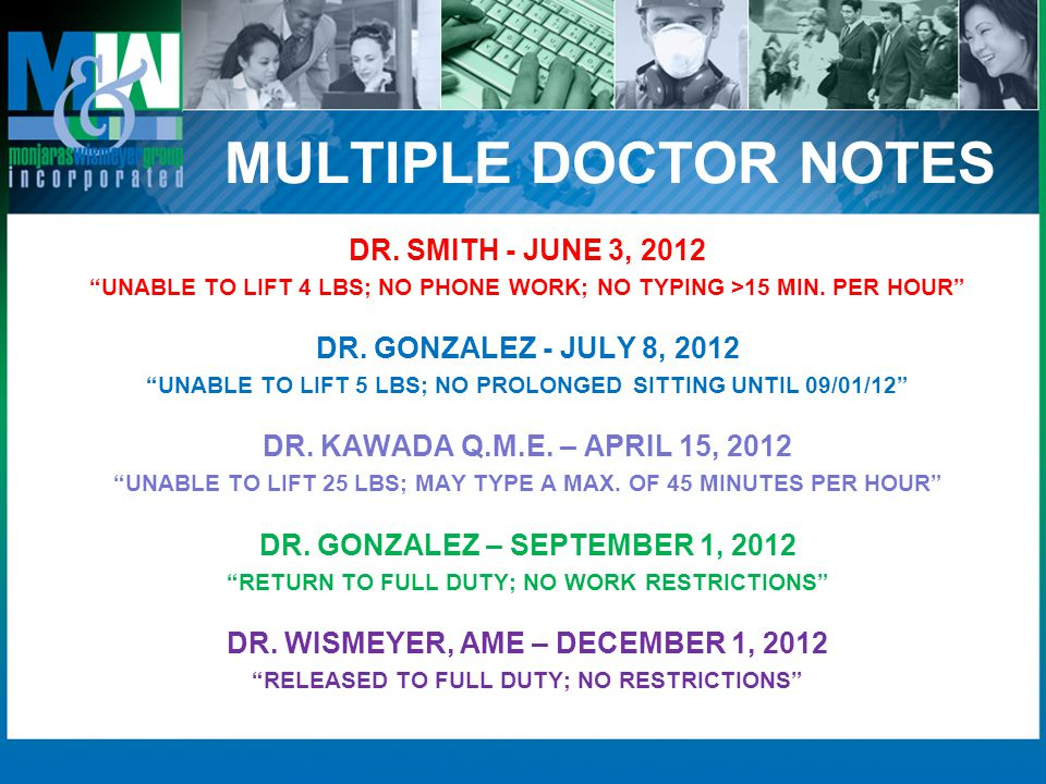 MULTIPLE DOCTOR NOTES DR. SMITH - JUNE 3, 2012