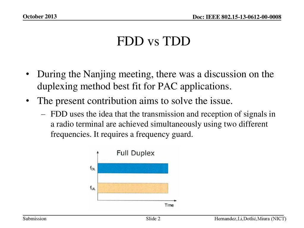 October 2013 FDD vs TDD. During the Nanjing meeting, there was a discussion on the duplexing method best fit for PAC applications.