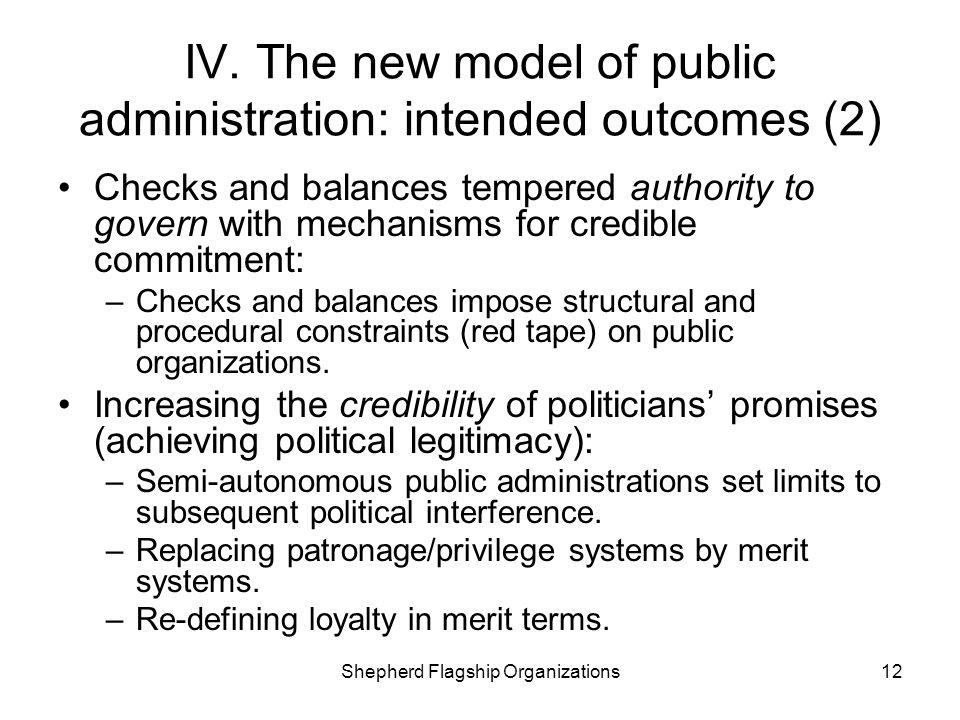 IV. The new model of public administration: intended outcomes (2)