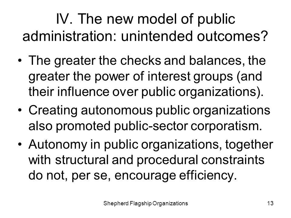 IV. The new model of public administration: unintended outcomes