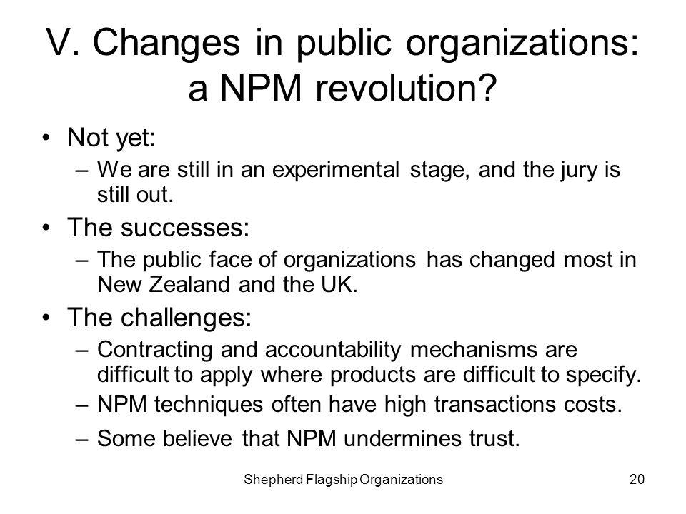 V. Changes in public organizations: a NPM revolution