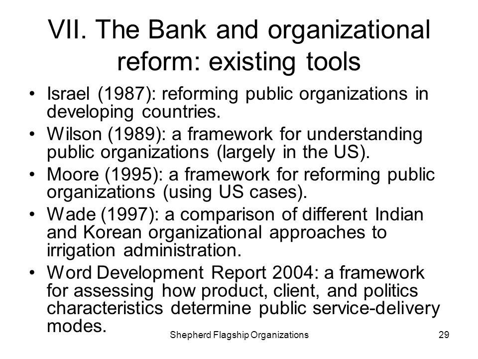 VII. The Bank and organizational reform: existing tools