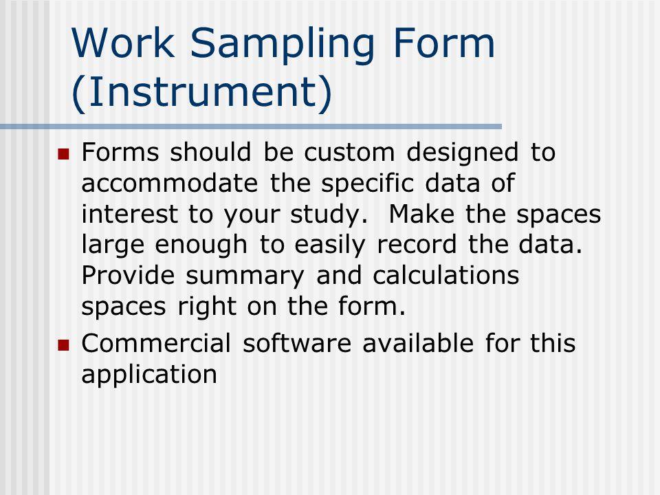 Work Sampling Form (Instrument)
