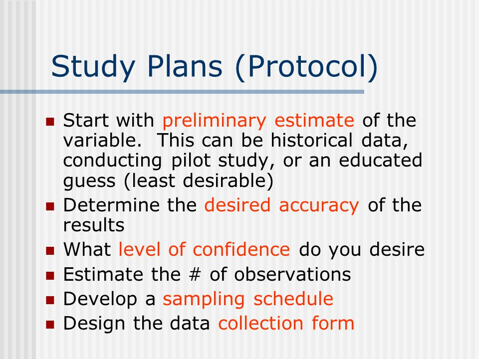 Study Plans (Protocol)