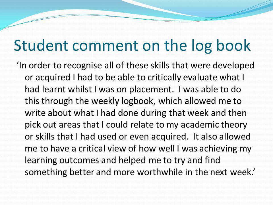Student comment on the log book
