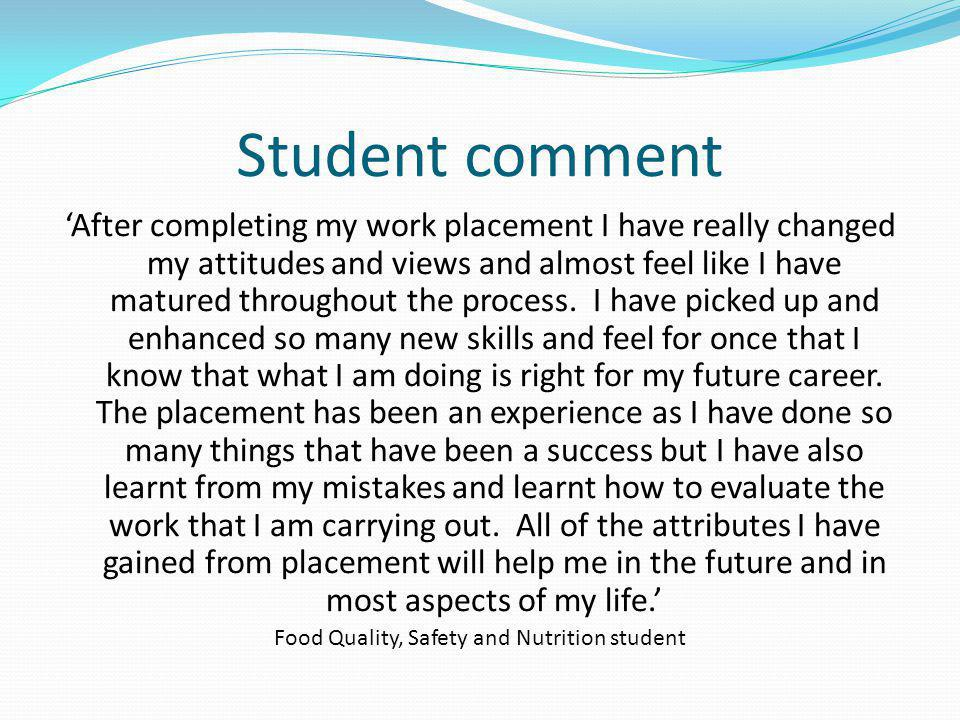 Food Quality, Safety and Nutrition student