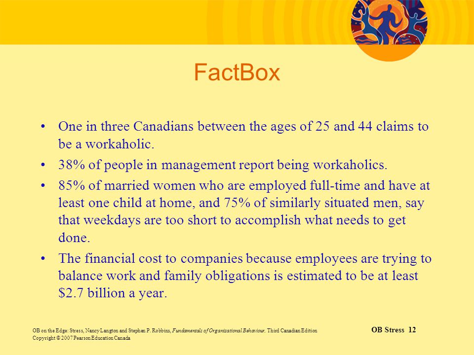 FactBox One in three Canadians between the ages of 25 and 44 claims to be a workaholic. 38% of people in management report being workaholics.