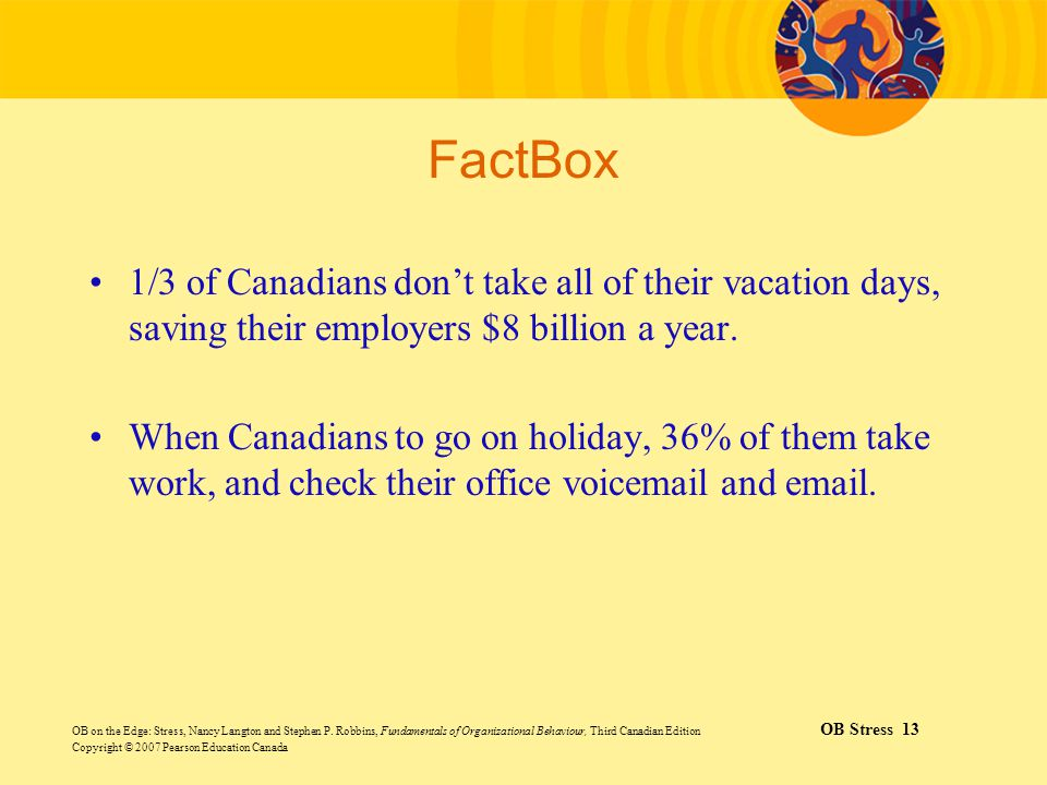 FactBox 1/3 of Canadians don't take all of their vacation days, saving their employers $8 billion a year.