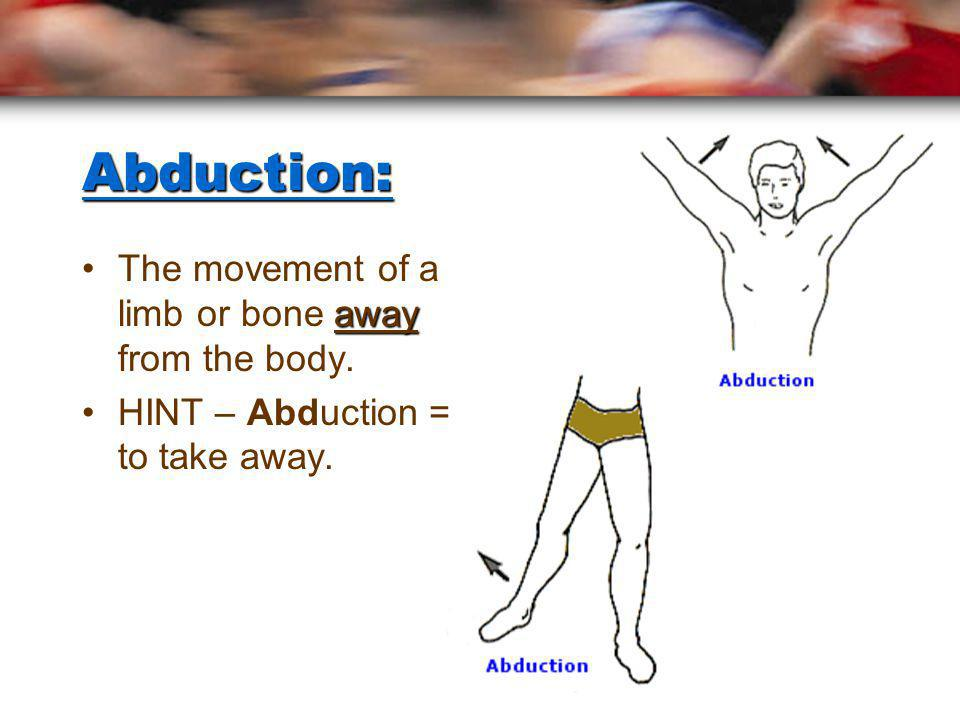 Abduction: The movement of a limb or bone away from the body.